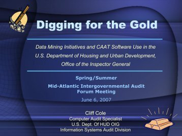 Digging for the Gold - intergovernmental audit forums