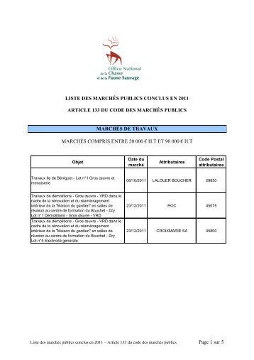 Marchés conclus par l'ONCFS en 2011