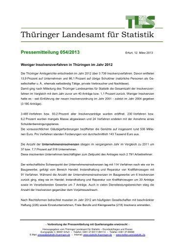 Weniger Insolvenzverfahren in Thüringen im Jahr 2012 - Thüringer ...