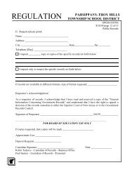 Request for Records Form R8310 - the Parsippany-Troy Hills School ...