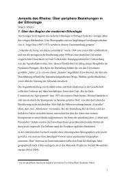 Jenseits des Rheins: Über periphere Beziehungen in der Ethnologie