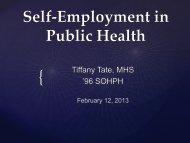 Self-Employment in Public Health