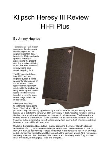 Klipsch Heresy III Review Hi-Fi Plus - Audio Counsel