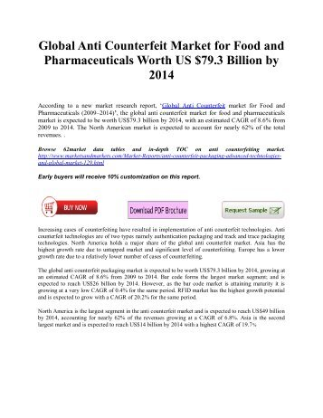 Global Anti Counterfeit Market for Food and Pharmaceuticals Worth US$79.3 Billion by 2015