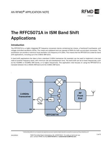 The RFFC5071A in ISM Band Shift Applications - RF Micro Devices