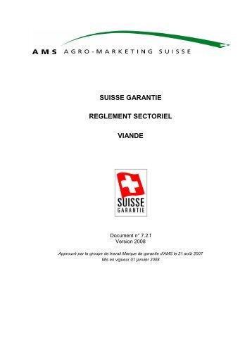 suisse garantie reglement sectoriel viande - Schweizer Fleisch