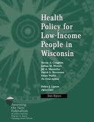 Health Policy for Low-Income People in Wisconsin - Urban Institute