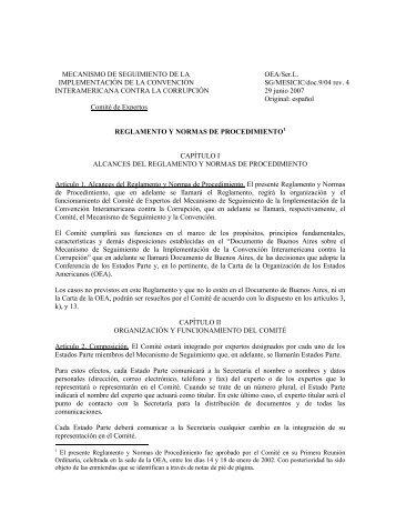 Reglamento y Normas de Procedimiento - OAS