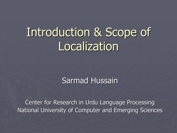 Introduction & Scope of Localization - PAN Localization