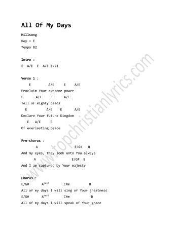 Oceans (Where Feet May Fail) - Hillsong - Christian Lyrics