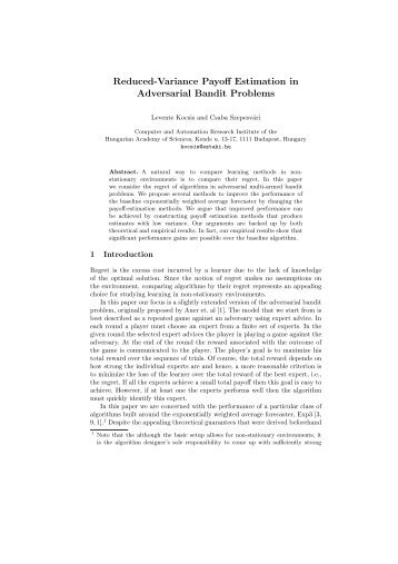 Reduced-Variance Payoff Estimation in Adversarial Bandit Problems