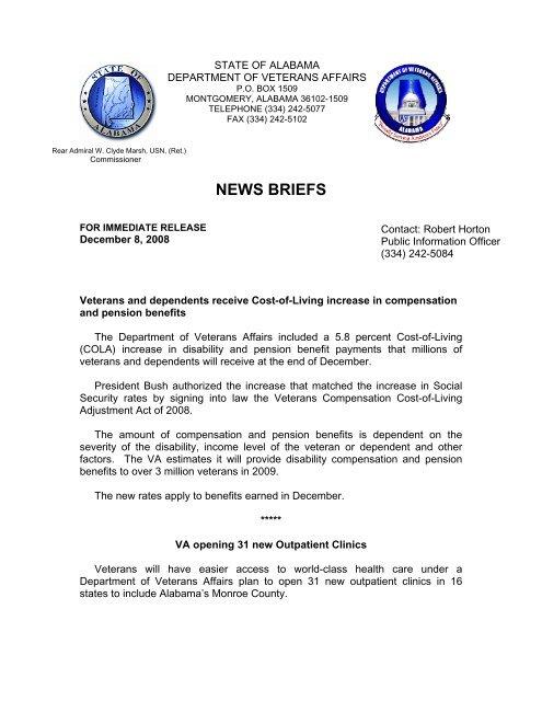NEWS BRIEFS - Alabama Department of Veterans Affairs