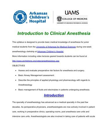 Introduction to Clinical anesthesia - Arkansas Children's Hospital