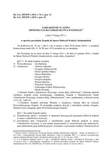 Tekst ujednolicony zarządzenia powołującego Zespół - Ministerstwo ...