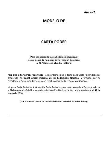 Anexo 2 MODELO DE CARTA PODER - FIVB