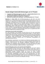 Suzuki steigert Automobil-Zulassungen um 5,7 ... - Suzuki-presse.de