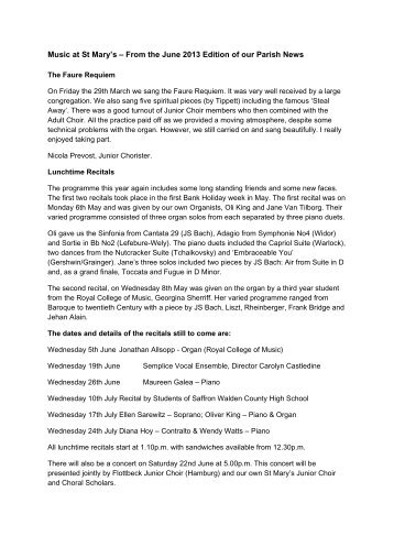 Music at St Mary's – From the June 2013 Edition of our Parish News