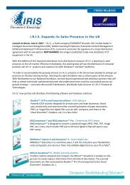 I.R.I.S. Expands its Sales Presence in the UK