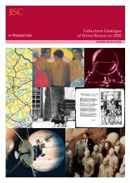 Collections Catalogue of Online Resources 2005 - Jisc