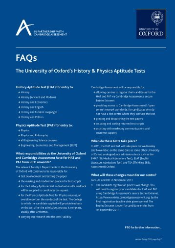 The University of Oxford's History & Physics Aptitude Tests
