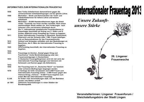 Flyer Frauenfest 2013 - Stadt Lingen