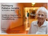 Schritte zur Hospizarbeit im Pflegeheim aus Sicht einer ...