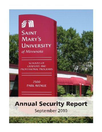 Annual Security Report September 2010 - Saint Mary's University of ...