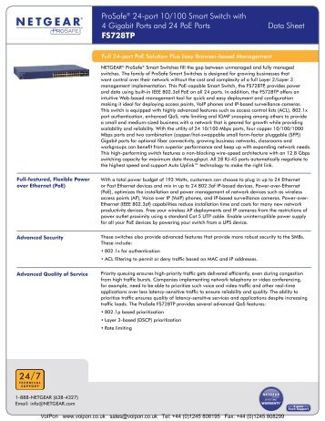 Netgear Prosafe 24 Port 10/100 Switch ... - VoIPon Solutions