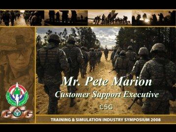 Mr. Pete Marion - PEO STRI