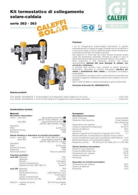 Kit termostatico di collegamento solare-caldaia - Caleffi