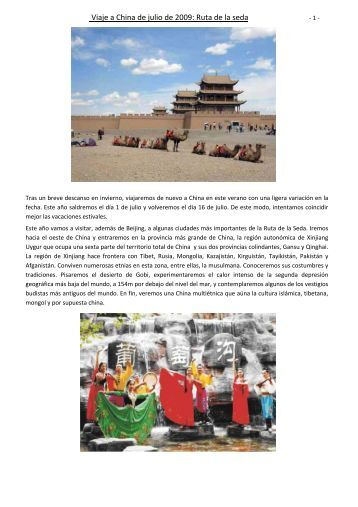Viaje a China de julio de 2009: Ruta de la seda - Tu patrocinio