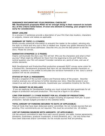 How to write a documentary treatment or proposal for Film treatment template
