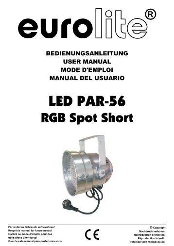 EUROLITE LED PAR-56 RGB Spot User Manual - Ljudia