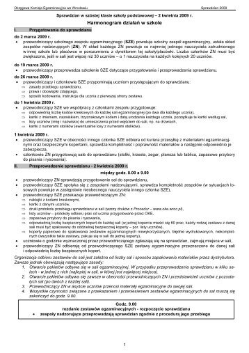 Harmonogram działań w szkole - Okręgowa Komisja Egzaminacyjna