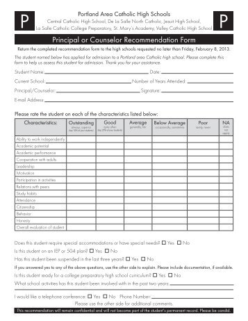 Principal/Guidance Counselor Evaluation Form - The Habersham