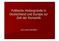 Politische Hintergründe in Deutschland und Europa zur Zeit der ...