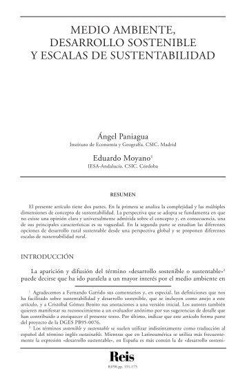 Medio ambiente, desarrollo sostenible y escalas de ... - Dialnet