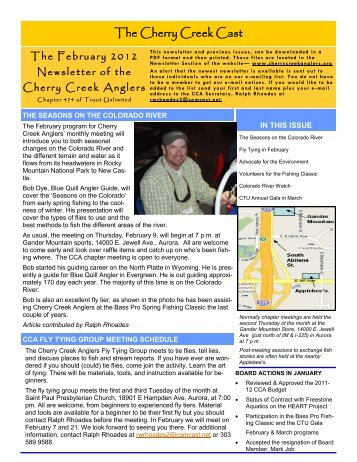 Febrary 2012 Newsletter - Cherry Creek Anglers