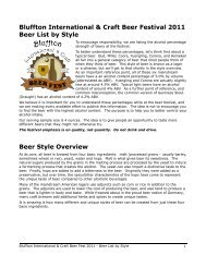 Bluffton International & Craft Beer Festival 2011 Beer List by Style ...