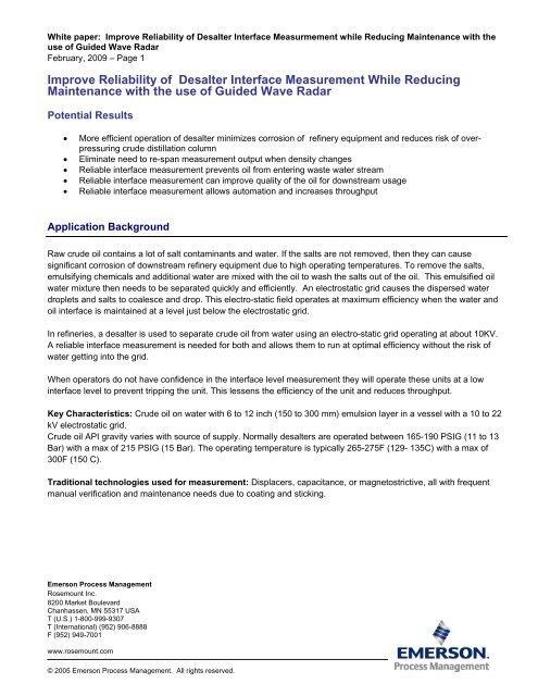 Improve Reliability of Desalter Interface     - Rosemount