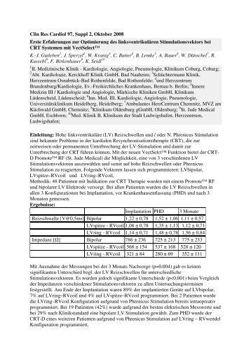 Clin Res Cardiol 97, Suppl 2, Oktober 2008 Erste Erfahrungen zur ...