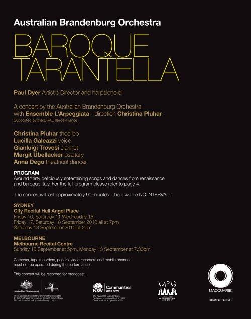 Baroque Tarantella Australian Brandenburg Orchestra