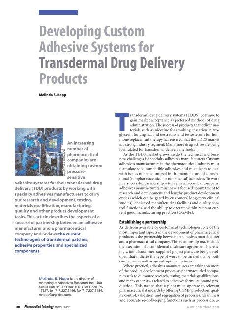 Developing Custom Adhesive Systems For Transdermal Drug