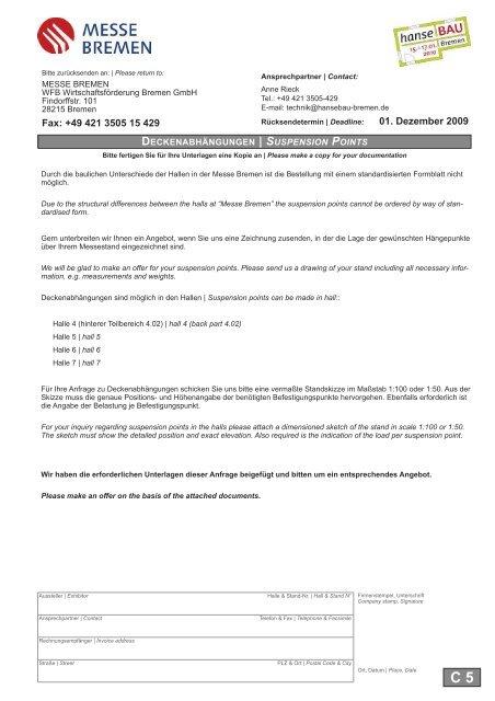 Fax: +49 421 3505 15 429 01. Dezember 2009 - hanseBAU