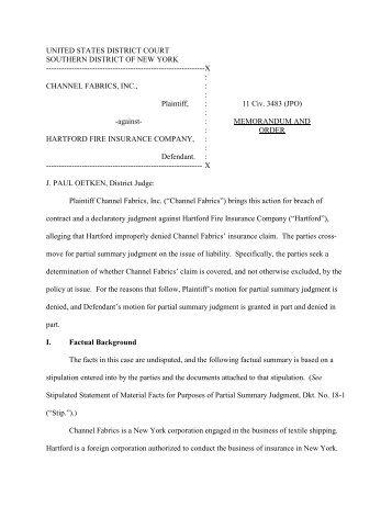 Channel Fabrics, Inc. v. Hartford Fire Ins. Co - Property Insurance ...