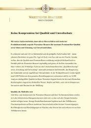 Keine Kompromisse bei Qualität und ... - Warsteiner Gruppe