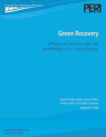 Green Recovery - PERI - University of Massachusetts Amherst