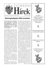 Zsámbéki Hírek 2009. november