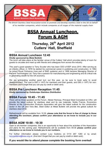 BSSA GUIDE TO STAINLESS STEEL SPECIFICATIONS - British Stainless ...