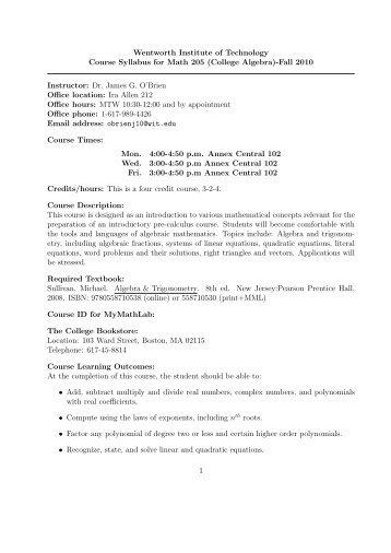 (College Algebra)-Fall 2010 Instructor: Dr. James G. O'Brien Of